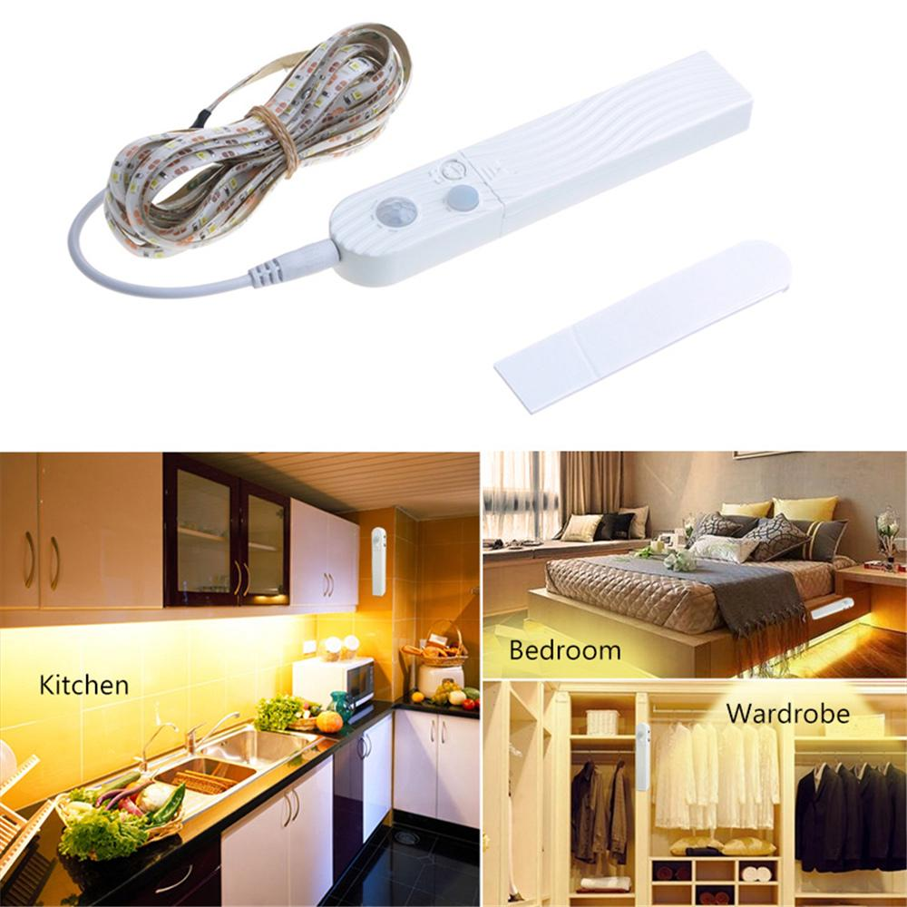 Buy 100cm 200cm 300cm Motion Sensor Led Light Strip Under Cabinet Lamp For Cupboard Stairs Flexible Indoor Lights At Affordable Prices Price 8 Usd Free Shipping Real Reviews With Photos Joom