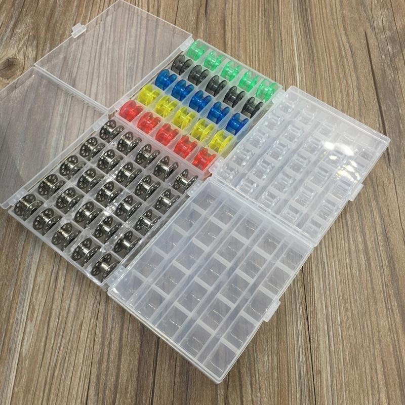 25pcs пустые металлические пластиковые бобины катушки случае сетка случае ящик для хранения швейные катушки фото