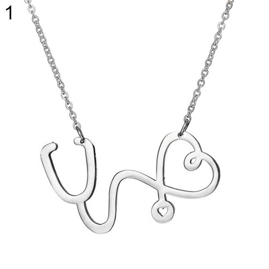 e0f051b46490 Moda estetoscopio amor corazón colgante cadena collar joyas regalo ...