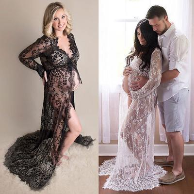 afbd156685 Pregnant Woman Portrait Drees Sexy Lace Long Maternity Photography Photo  Front open Trailing skirt