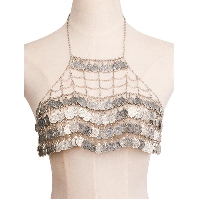 21237a9fd9666 Gypsy Harness Bikini Coin Pendant Bra Top Body Chest Chain Necklace ...