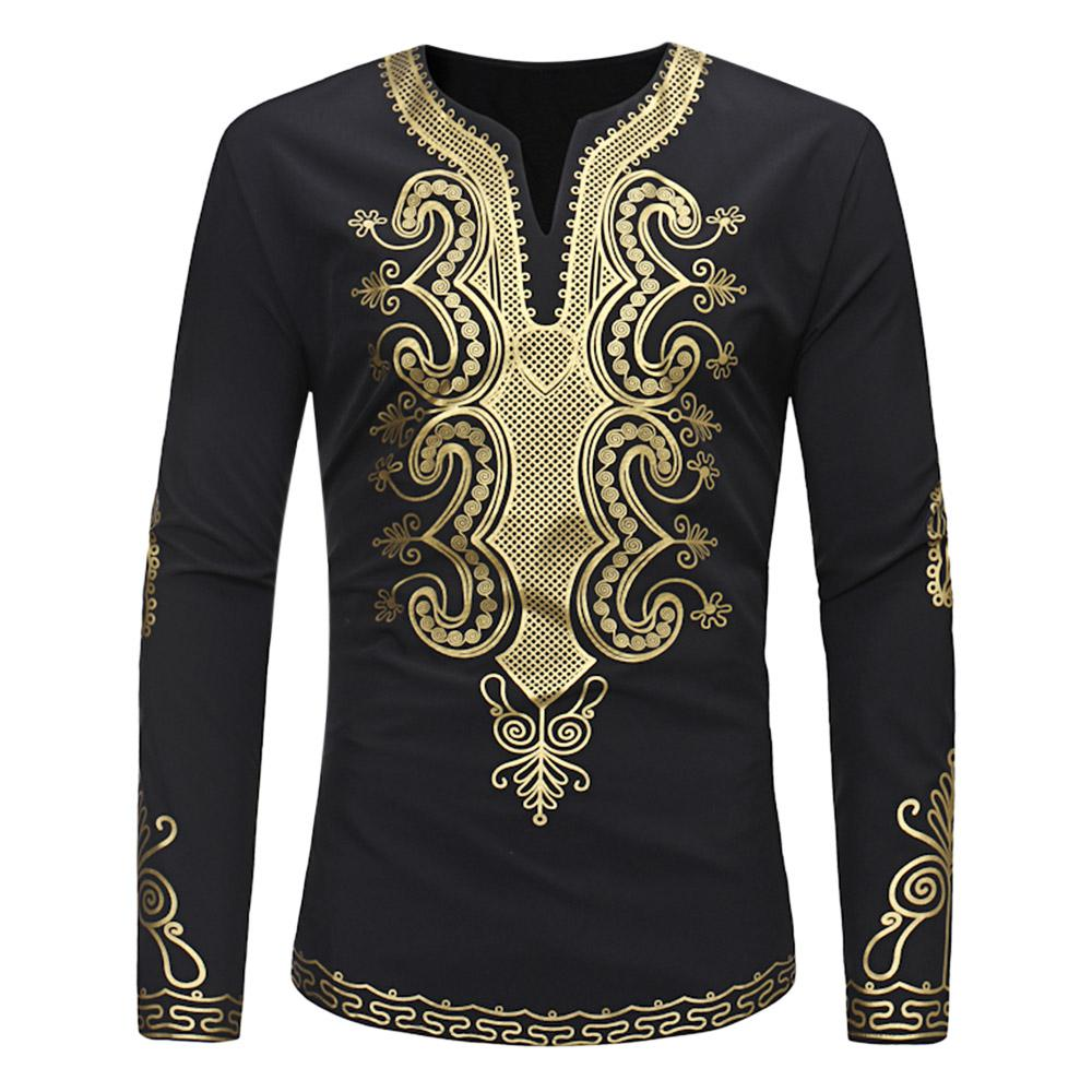 BAYY Mens O-Neck Long-Sleeve African Dashiki Ethnic Style Pullover Tees Top