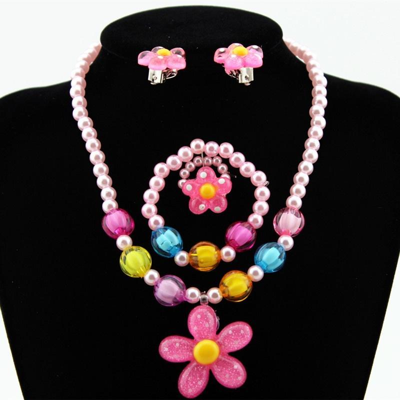 Kids Girl Pearls Flower Shape Necklace Bracelet Ring Ear Clips Sets Jewellery