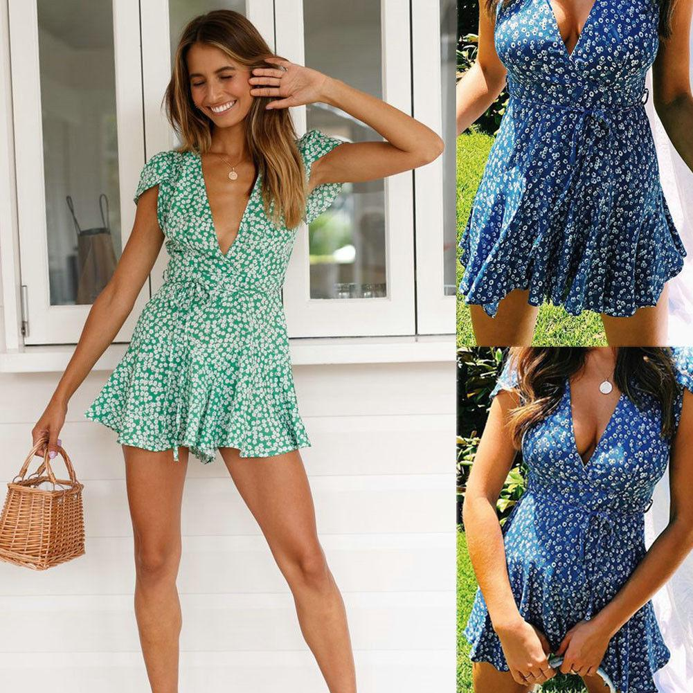 Evening Party Floral beach sundress Womens Dresses summer Casual Cocktail V Neck