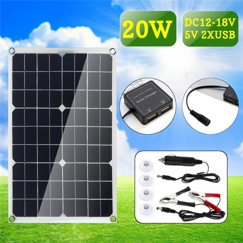 20W DC12-18В панели солнечных батарей двойной USB порт кемпинг Пешие прогулки, Велоспорт путешествия зарядки – купить по низким ценам в интернет-магазине Joom