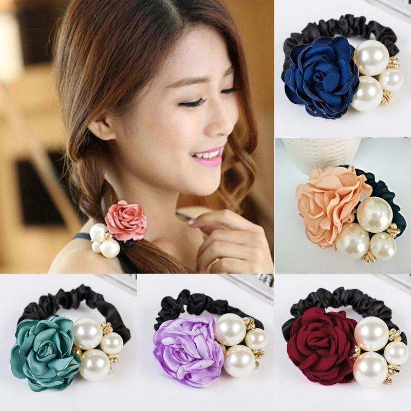 Lady Stylish Sweet Style Faux Pearl Rose Flower Hair Rope Elastic Hair Ring BM