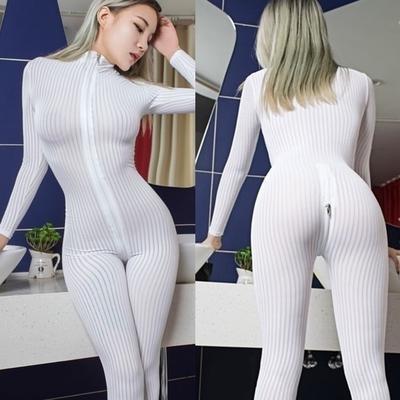 Kleidung & Accessoires Learned Dame Striped Sheer Bodysuit Smooth Fiber 2 Zipper Long Sleeve Costume Jumpsuit