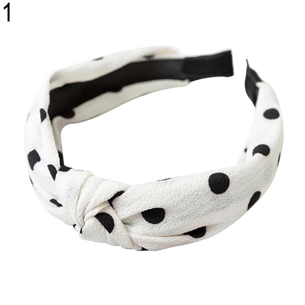 Lady Polka Dot Bow Knot Headband Hairband Wide Vintage Headwrap Hair Hoop #NP