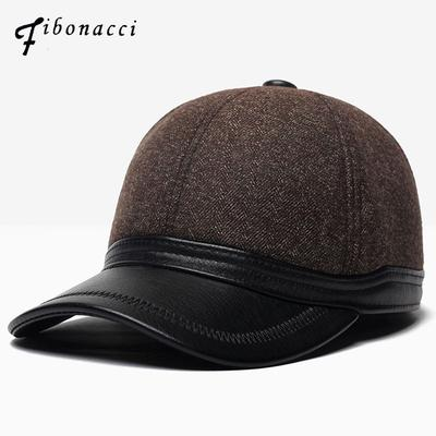 8aa2698ec2631 Winter Wool Nylon Ear Baseball Caps Faux Leather Brim Men Flap Dad Hats  Snapback Middle Aged