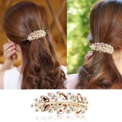 Head Girls Jewelry Headwear Womens Moon Barrette Full Crystal Hair Clip