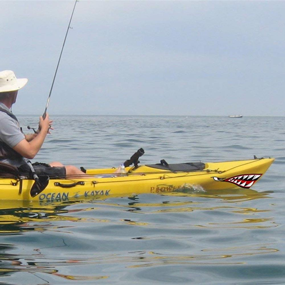 2Pcs Waterproof Shark Teeth Mouth Kayak Canoe Boat Vinyl Decal Funny Sticker