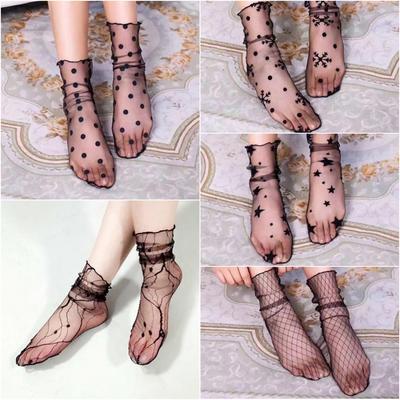 Women Ultra-thin Sock Chiffon Silk Stockings Floral Transparent Retro One Size