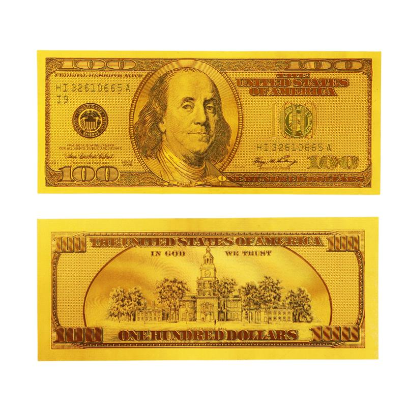 1pc Plastic US Dollar Commemorative Coin Gold Foil Paper Money Craft Collection