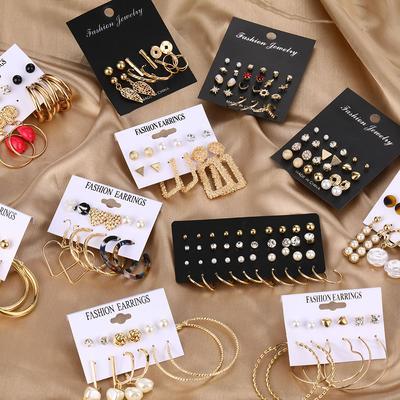 Accessories Pop Earrings Geometric Acrylic Sheet Tassel Stud Earring Set Ornament