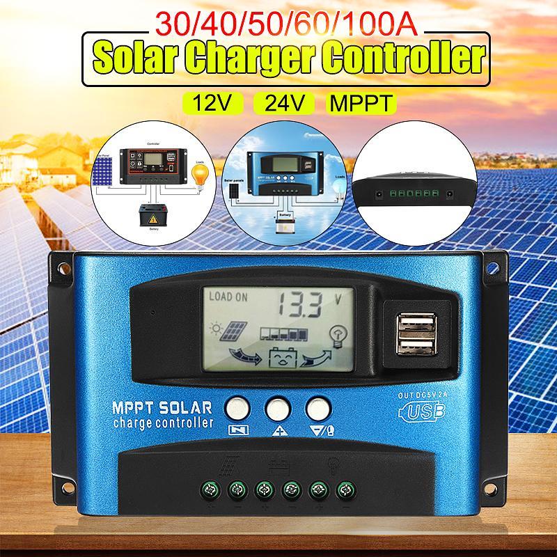 MPPT Auto LCD Screen Solar Charge Controller Dual USB Solar Panel Regulator