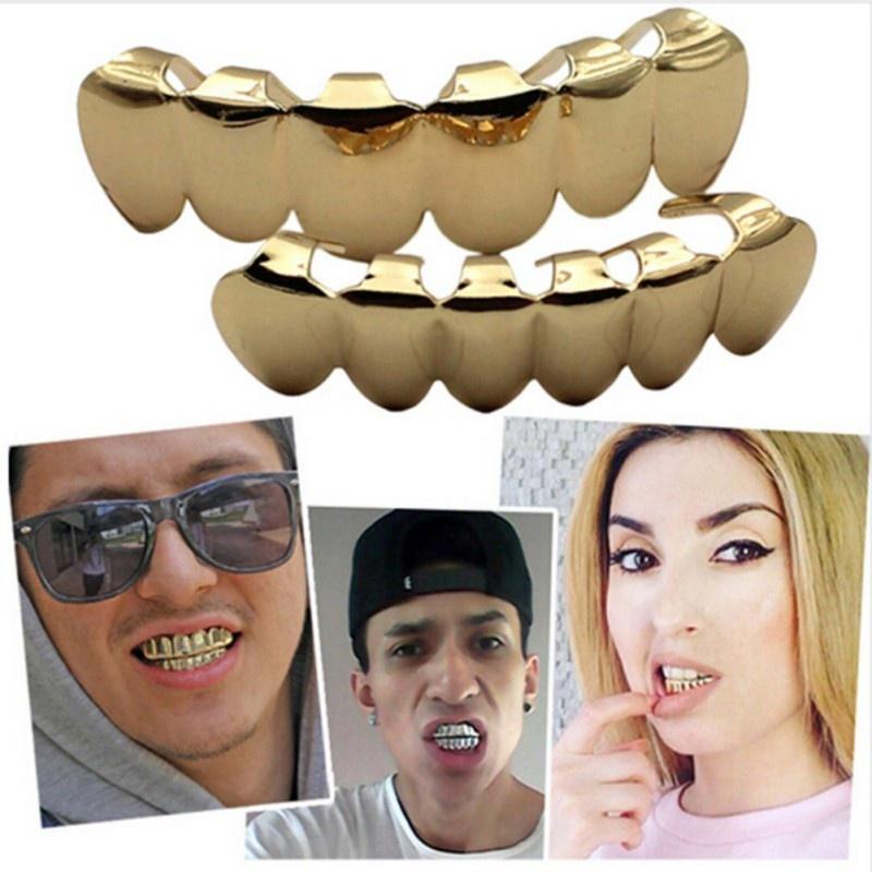 Хип-хоп золотые брекеты зубов зубов верхней/нижней набор зубов Grillz шапки экологически металла – купить по низким ценам в интернет-магазине Joom