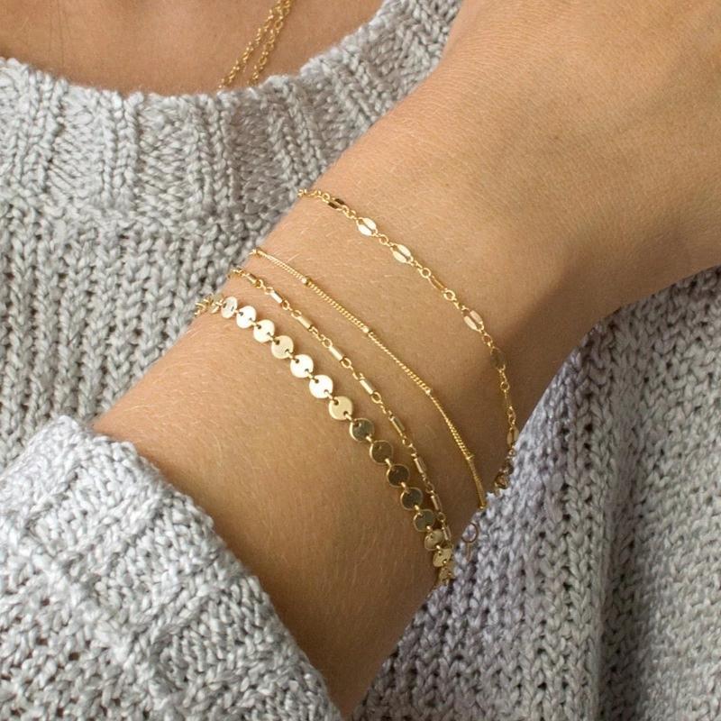 Ladies Elegant Bohemia Bracelet Disc Metal Wrist Chain Fashion Jewelry Gifts IT