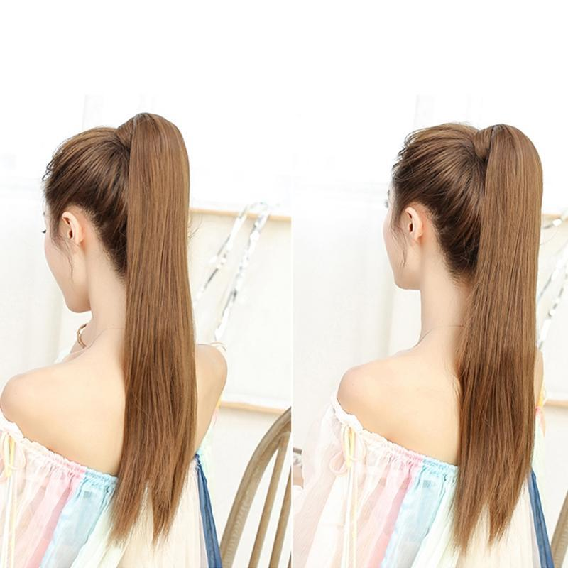 False Pony Tail Long Straight Magic Paste Synthetic Hair Extension