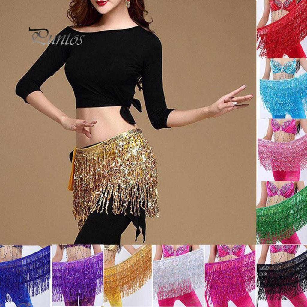 Belly Dance Hip Scarf Sash with Sequins Tassels Skirt Silver Coins