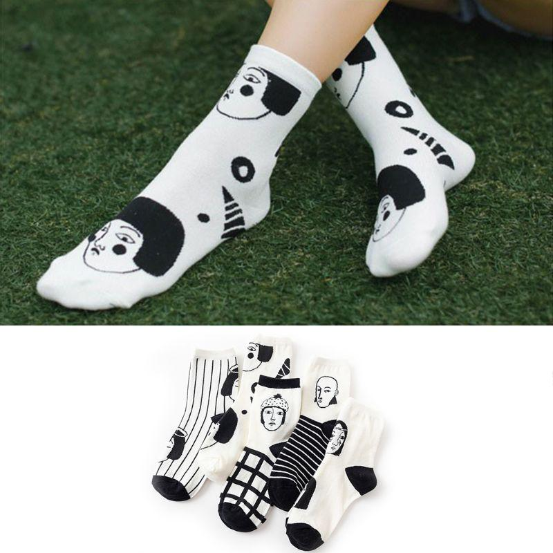 bb95f44f550 Unisex Funny Hipster Patterned Short Socks Cotton Art Ankle Black ...