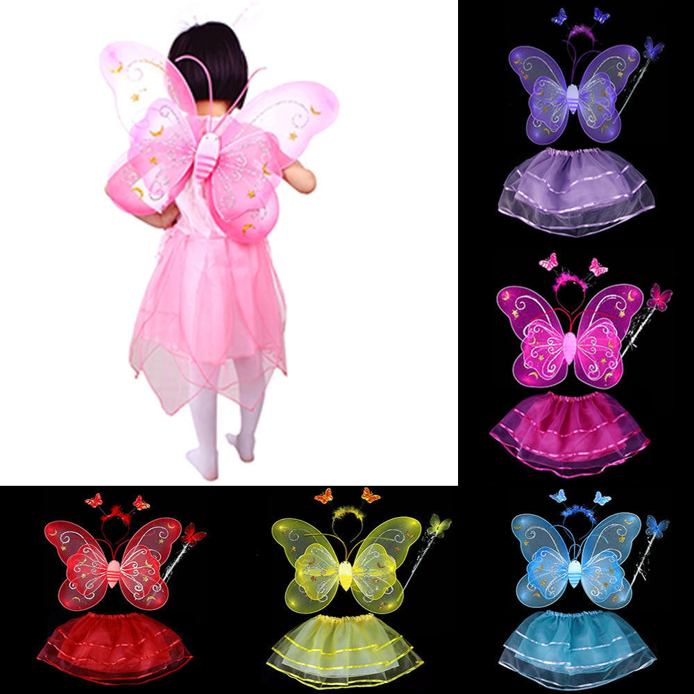 644d77399 2019 Fairy Princess Butterfly Wing Headband Dress Birthday Party ...