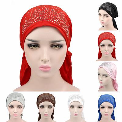 India Women Muslim RetroTurban Hat Flower Lace Hair Loss Head Scarf Wrap Caps