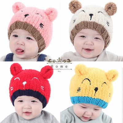 Navy Blue Baby Hats Infant Boys Girls Winter Earflap Knit Warm Spire Cap Hat with Pom Pom