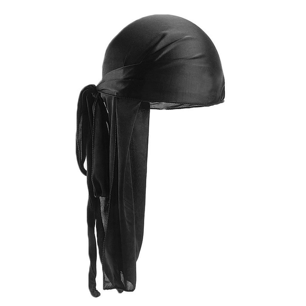 Unisex Velvet Bandana Hat Turban 360 Waves Long-Tail Straps Durag Cap Men Women Headwear