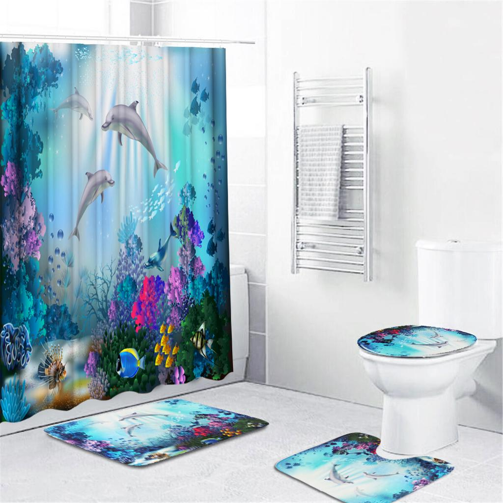 4Pcs//Set 3D Nature Scenery Bathroom Set Shower Curtain Toilet Lid Cover Bath Mat