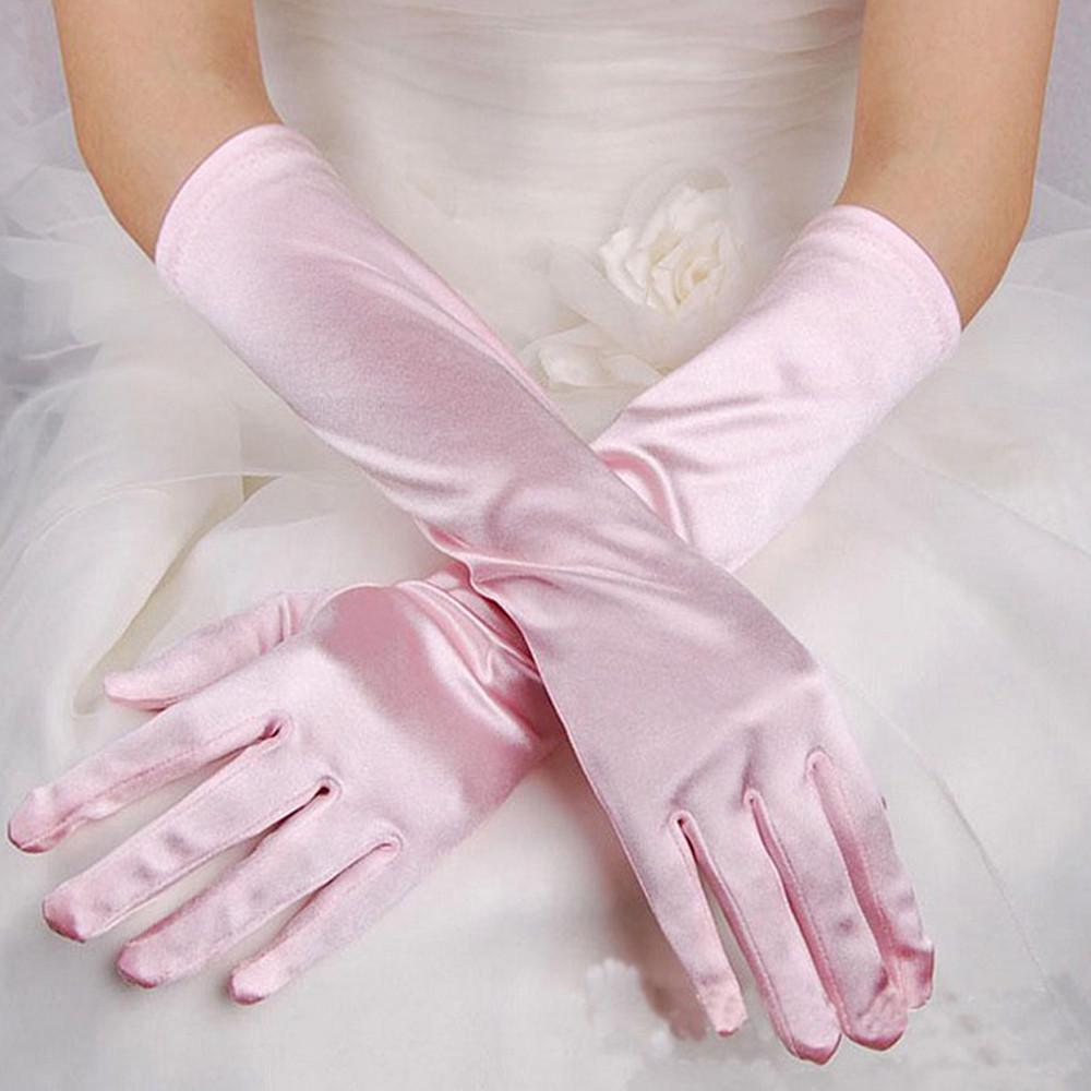 """Luxurious Long 19/"""" Rouched Black Satin Fingered Wedding Prom Gloves"""