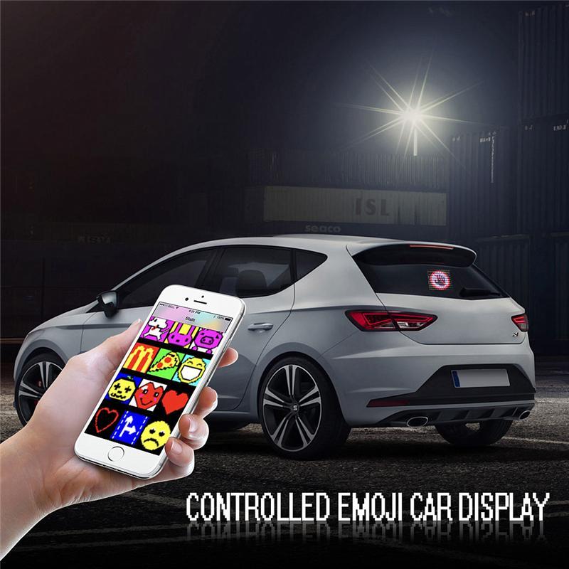 Controlled Emojis Car LED Display Screen Adjustable Bluetooth App universal