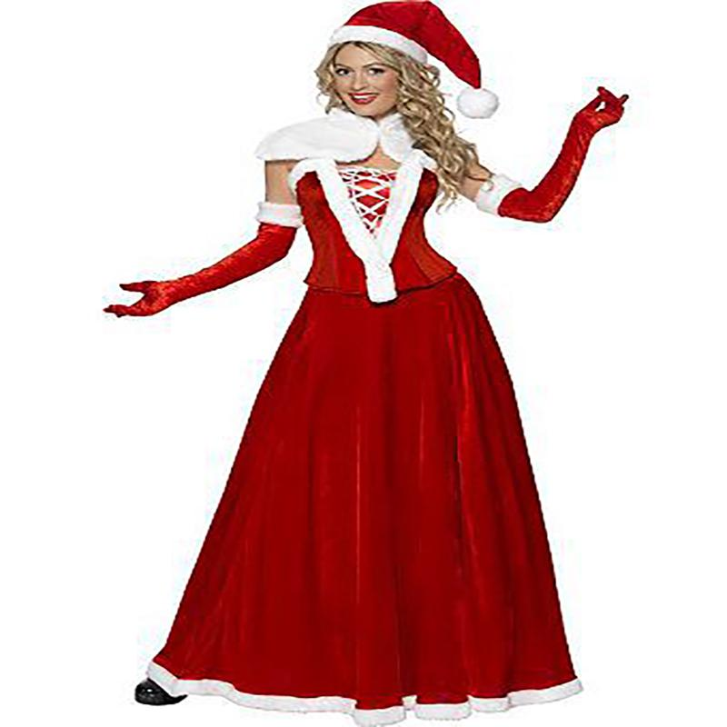 Xmas Ladies Womens Cosplay Costume Outfit Mrs Santa Claus Christmas Fancy Dress