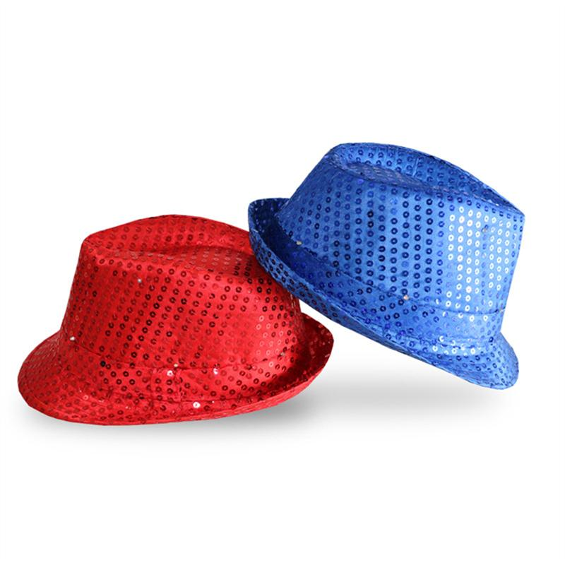 Flashing Light Up Led Fedora Trilby Sequin Unisex Fancy Dress Dance Party Hats