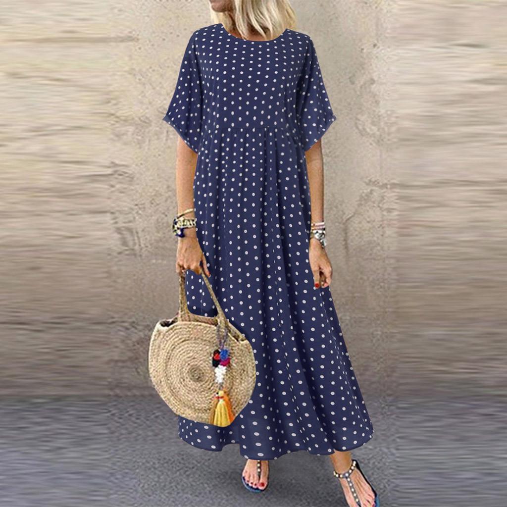 Женщины Мода O-Neck Короткий рукав Плюс Размер Dot Peinted случайное платье