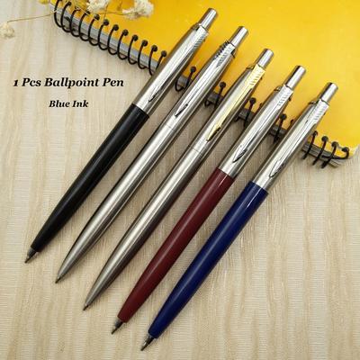 1 Pcs Fashion Metal Push Steel Ball Ballpoint Pen Black / Blue / Red / Silver + Blue Ink