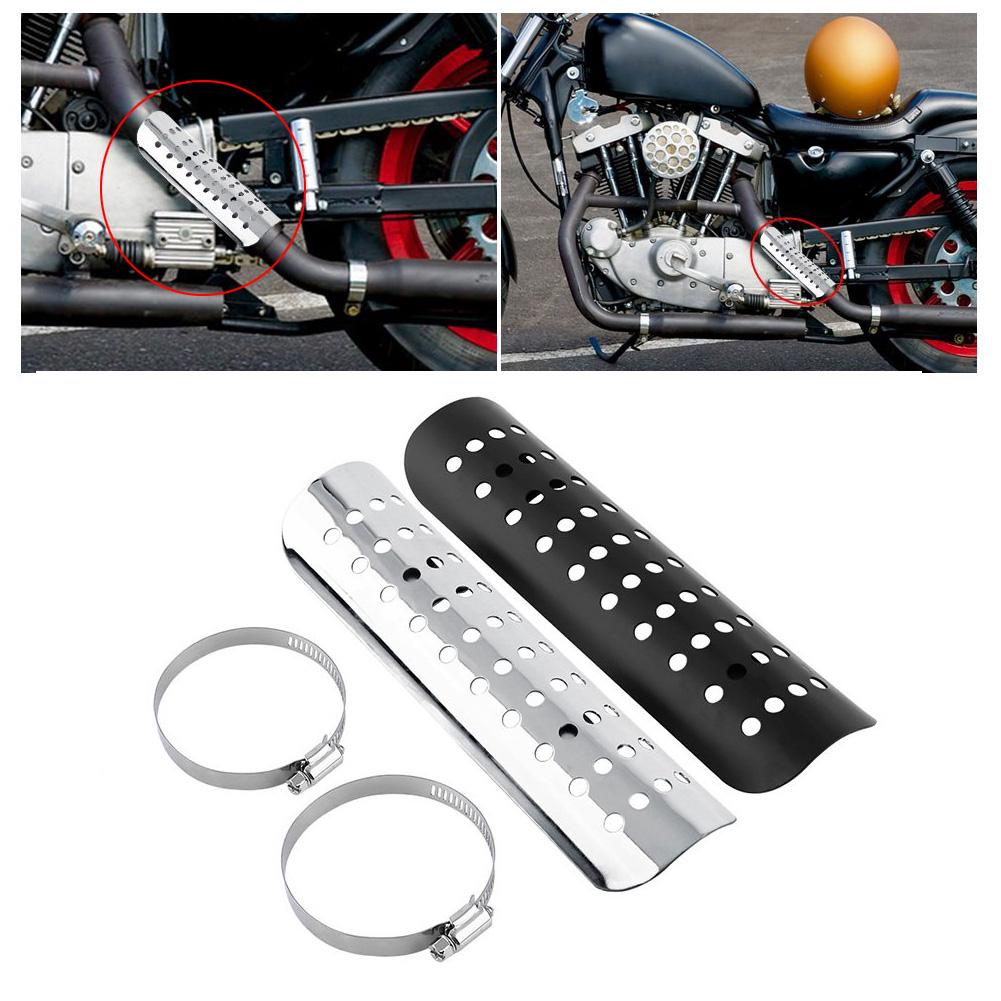 Color : Silver Heat Shield Straight Cover Muffler Exhuast Hees Guard for Choppers Cruisers Kawasaki