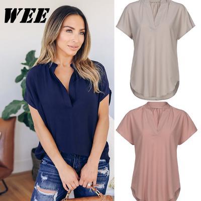 a06a0648e47 Женщины летом шифон короткий рукав рубашки случайным Топы Блузки футболку