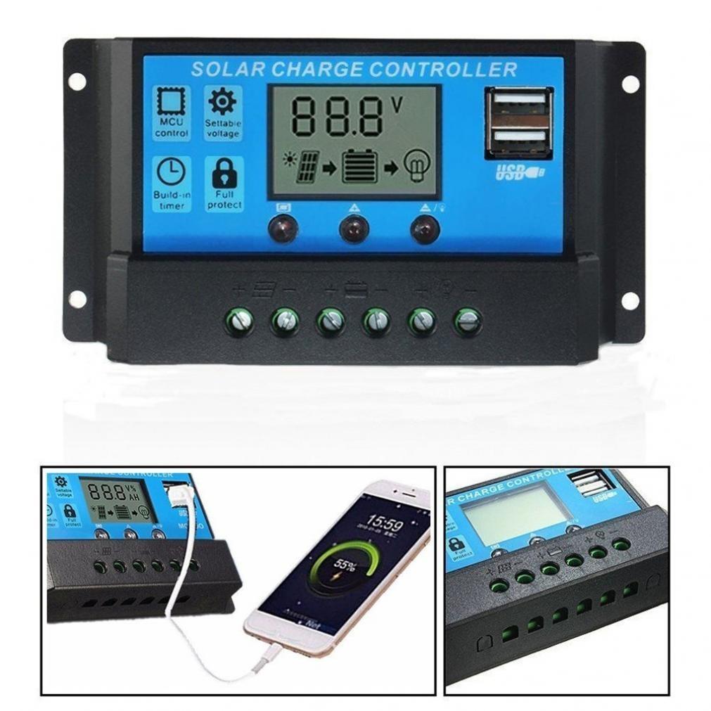 YJSS-10A PWM 12V 24V Dual USB Panel Solar Regulador de Carga 30A Controlador de Carga Solar Pantalla LCD 10//20