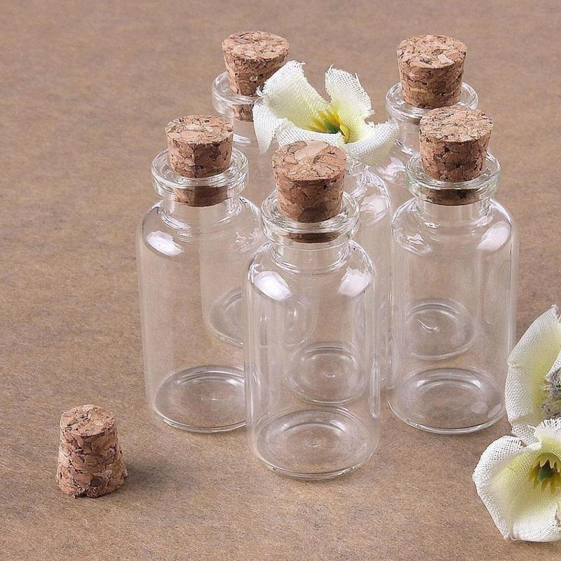 10Pcs Mini Glass Bottles with Cork Stoppers Tiny Vials Jars Wishing Message Bottles Decorative Charms Necklace Pendant