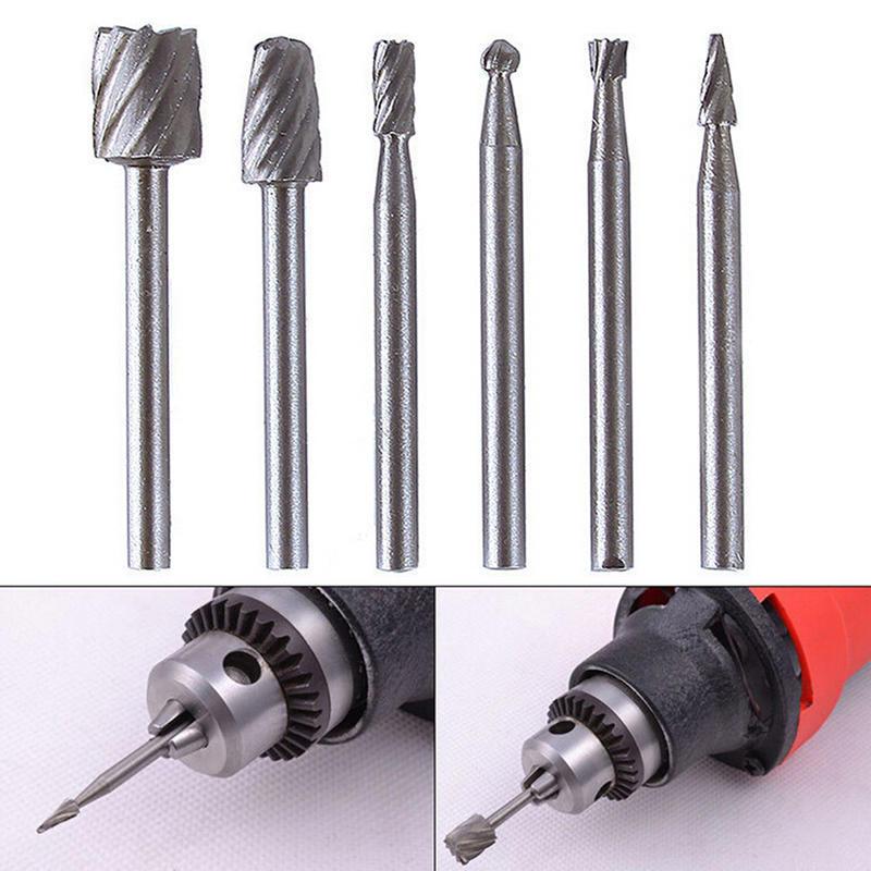 6pcs Milling Cutter Bits Accessories Shank Burr Rotary Carbide Repair Grinding