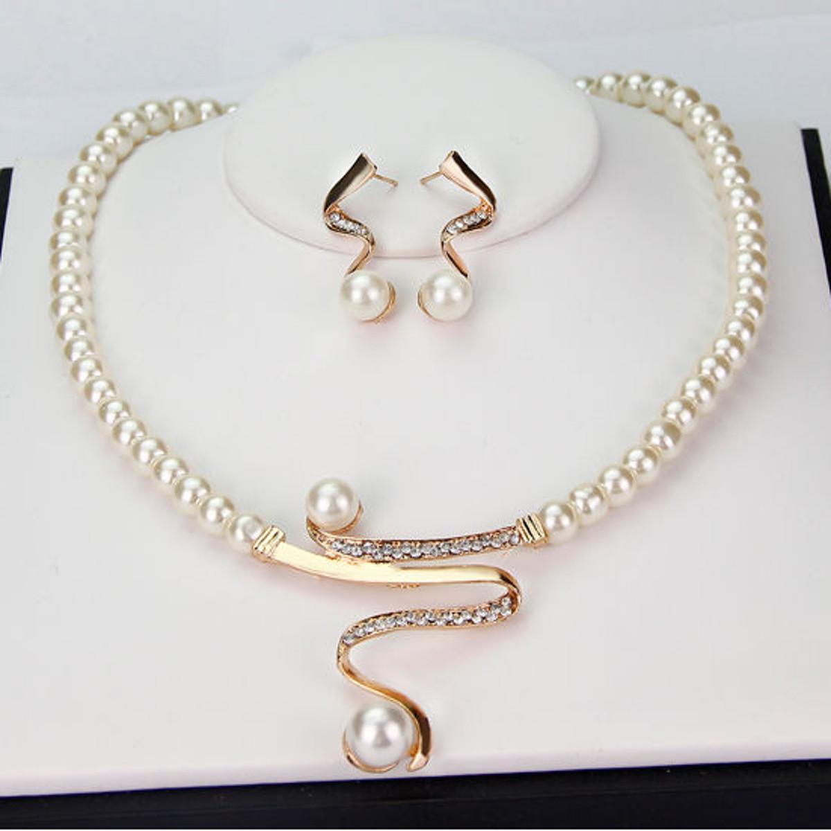 Женщины жемчужина стразами ожерелье серьги комплект ювелирных изделий для Свадебные партии фото