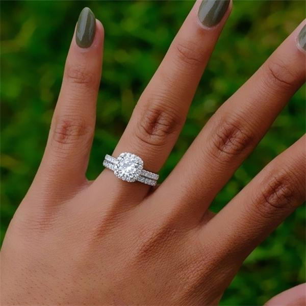 2ps/set Princess Silver Color Round Cut Crystal Bride Engagement Wedding Rings Размер 5-12