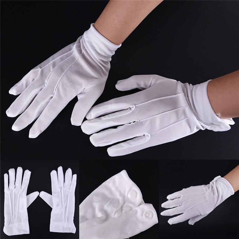 1Pair White Cotton Formal Gloves Tuxedo Honor Guard Parade Santa Men Inspection