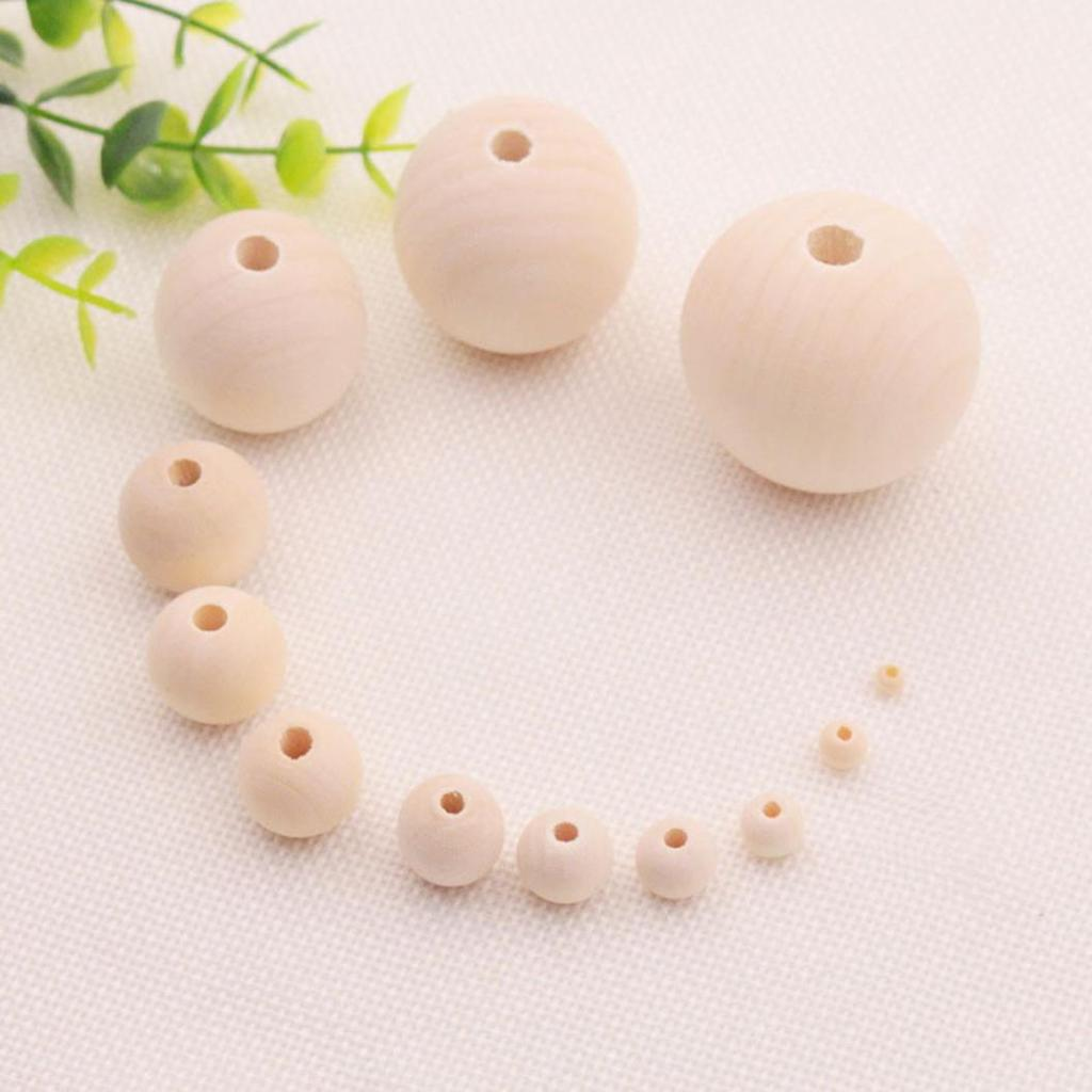 100Pcs Natural Round Wood Spacer Unpainted Wooden Ball Beads DIY Jewelry Lot