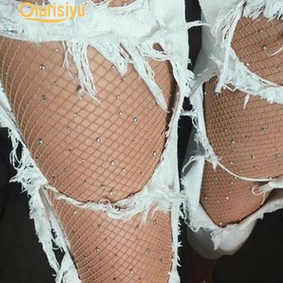 WomenSexy Thigh High Stockings Rhinestone Fishnet Stockings Big Fish Net Tights Pantyhose