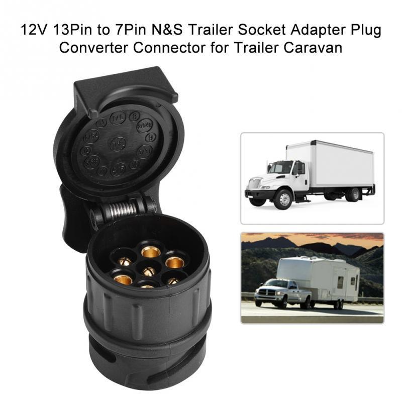 7 Pin 13 Pin Trailer Adapter Stecker Adapter Konverter Trailer Stecker Konverter Trailer Socket Adapter f/ür Wohnwagen