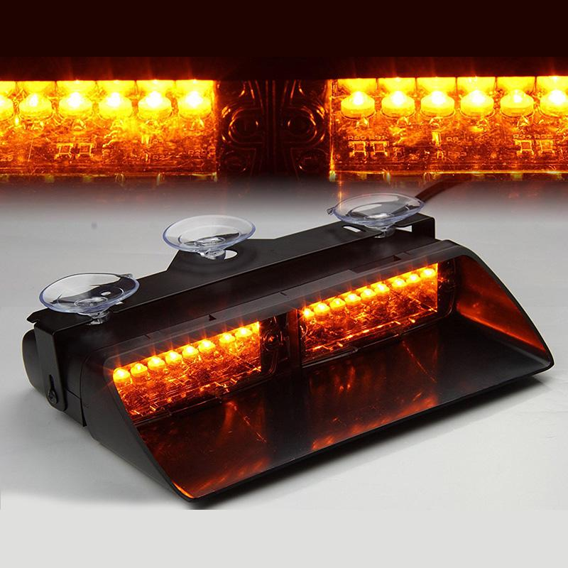 "24W 7/"" LED Emergency Beacon Warning Rotating Round Roof Strobe Light Amber White"
