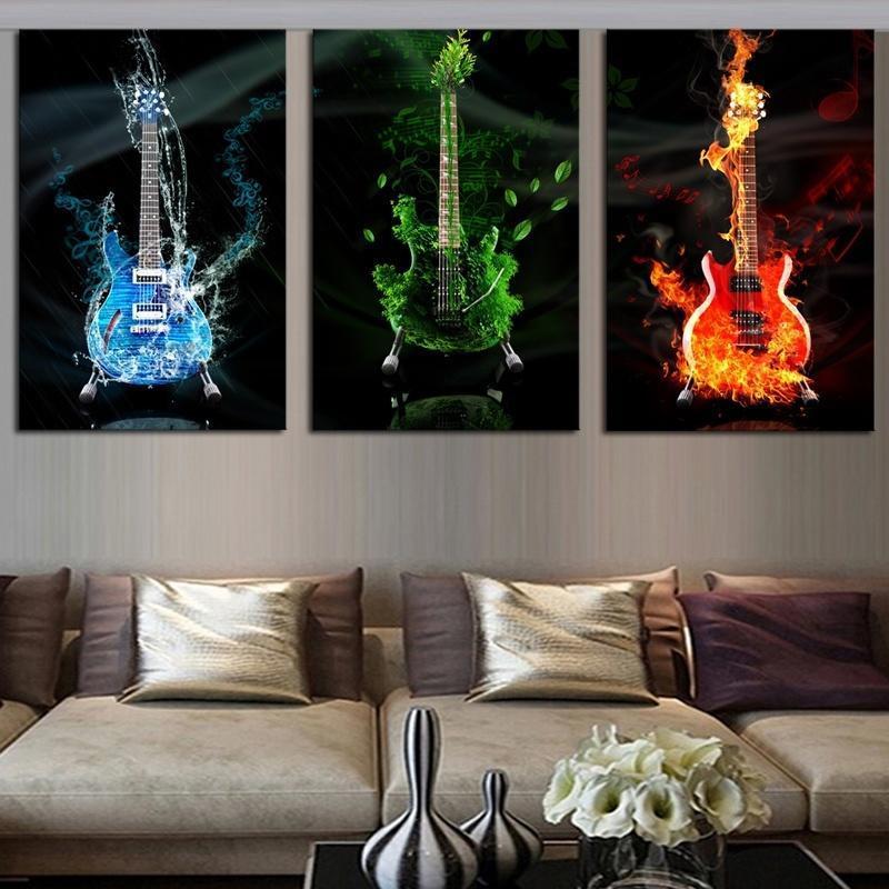 3 paneles sin marco rojo & verde & azul guitarra pared arte cuadros ...