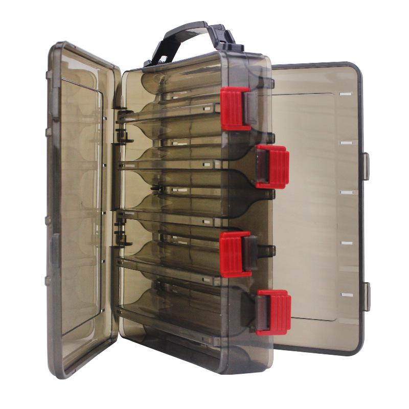 Double Side 14 Compartments Fishing Lure Box for Minnow Shrimp Bait Metal Spoon