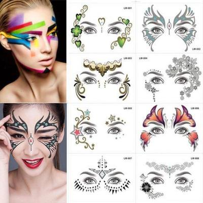 e34f58cd12ded Party Waterproof Temporary Body Art Forehead Eye Gold Face Tattoo Stickers